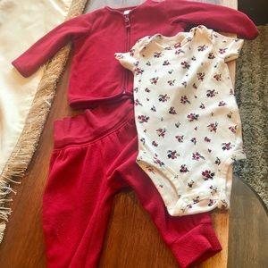 Carter's brand fleece 3 piece outfit
